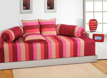 Magenta and Beige Colour Stripes Diwan Set with Bolster and Cushion Covers