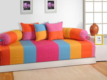 Yellow and Pink Colour Stripes Diwan Set with Bolster and Cushion Covers