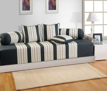 Black and Cream Colour Stripes Diwan Set with Bolster and Cushion Covers