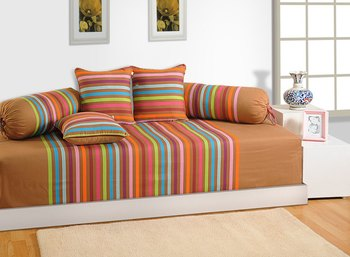 Beige and Teal Colour Stripes Diwan Set with Bolster and Cushion Covers