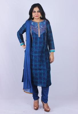 Blue Pure Gadwaal Silk Machine Zari Embroidery Churidaar Kameez