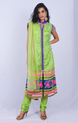 Green Blue Pink Net Aari Work Straight Fit Churidaar Kameez