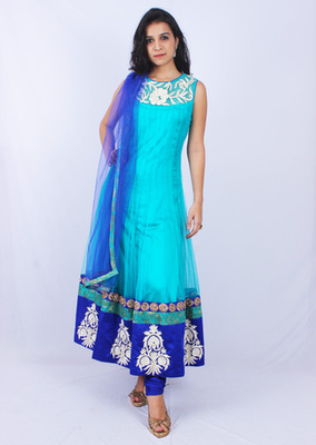 Blue Net Ghera Embroidery Sheer Neck Anarkalis