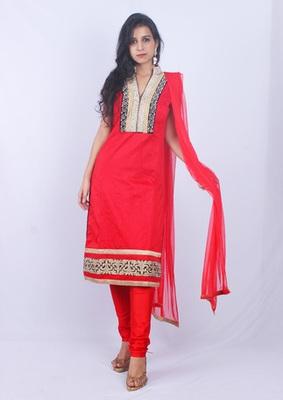Red Raw Silk Silver Stone Zari Embroidery Churidaar Kameez