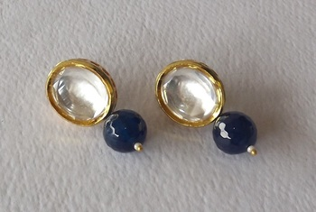 Kundan Studs  Earring in Blue