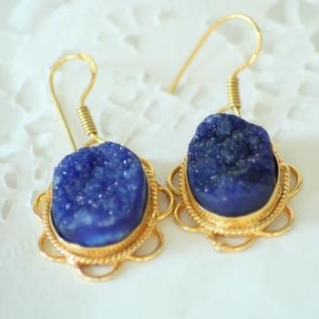 Royal Blue Druzy Drops Danglers Earrings Jhumkas