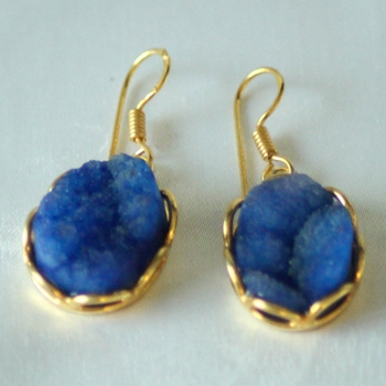 Royal Blue Druzy Drops Danglers Earrings Jhumkas