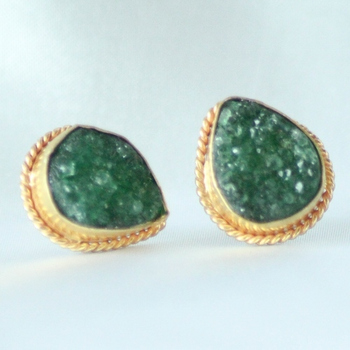 Green Druzy Earrings Studs Tops
