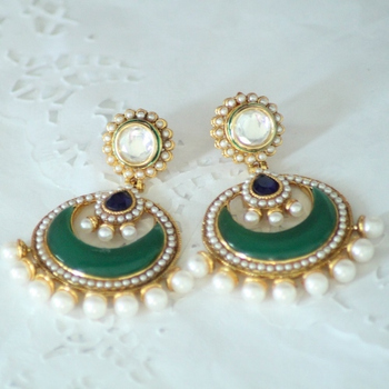 Green and Blue Kundan Pearl Beads & Meenakari Jhumkas Chand Bali Earring