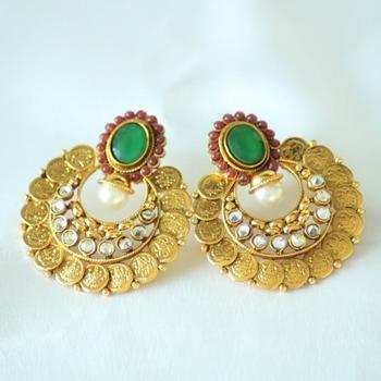 Green Kundan Pearl Beads & Meenakari Jhumkas Chand Bali Earring