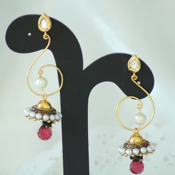 Red Kundan Pearl & Beads Danglers Jhumkas