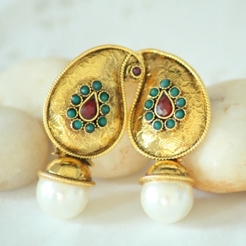 Gold Pearl & Beads Studs Earrings