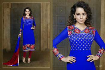 Blue ColourEmbroidered Georgette  Semi Stitched Straight Cut suit