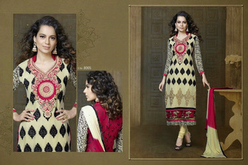 Beige ColourEmbroidered Georgette  Semi Stitched Straight Cut suit