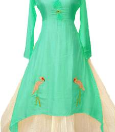 Green plain chanderi long-kurtis
