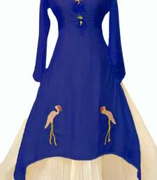 Blue plain chanderi long-kurtis