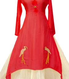 Red plain chanderi long-kurtis