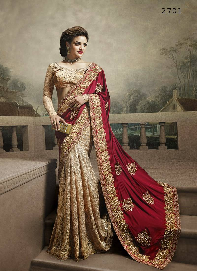 9f6cb2dd4dd753 Multicolor embroidered chiffon saree with blouse Multicolor embroidered chiffon  saree with blouse