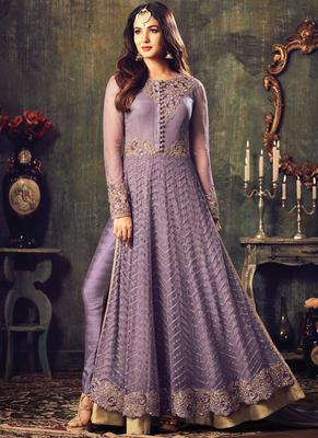 Light violet embroidered net salwar with dupatta