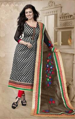 Black Embroidery Pure Georgette Semi Stitched Designer Anarkali Suit