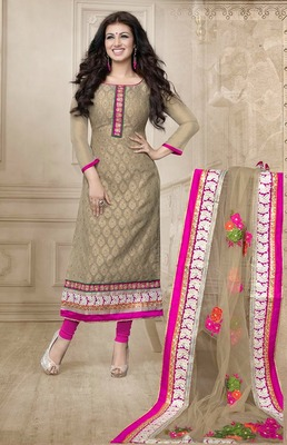 Beige Embroidery Pure Georgette Semi Stitched Designer Anarkali Suit