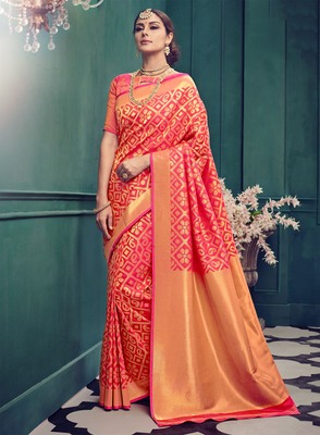 Coral woven silk saree with blouse