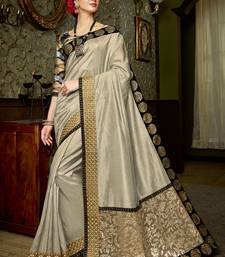 Buy Beige embroidered silk saree with blouse party-wear-saree online