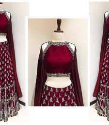 Buy Maroon embroidered art silk unstitched lehenga with dupatta lehenga online