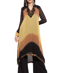 Buy Brown embroidered georgette stitched long-kurtis party-wear-kurtis online