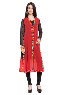 Red Plain Georgette Stitched Long Kurtis