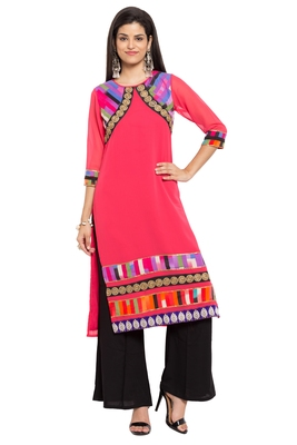 Red Printed Georgette Stitched Long Kurtis
