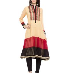 Yellow plain georgette stitched long-kurtis