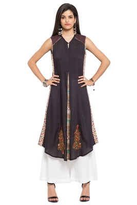 Black Embroidered Cotton Stitched Long Kurtis