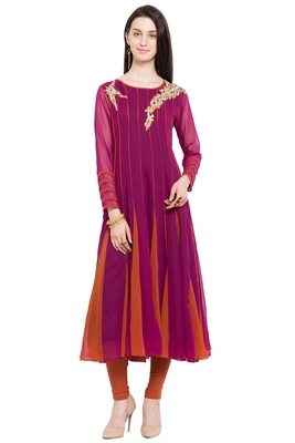 Magenta Embroidered Georgette Stitched Long Kurtis