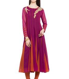 Magenta embroidered georgette stitched long-kurtis