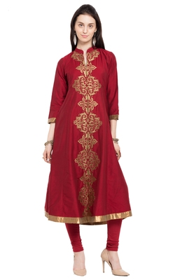 Red Embroidered Cotton Stitched Long Kurtis