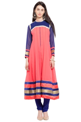 Peach Embroidered Georgette Stitched Long Kurtis