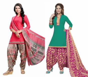 Multicolor floral print crepe salwar with dupatta