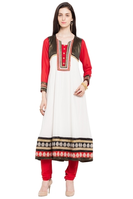 White plain georgette stitched long-kurtis