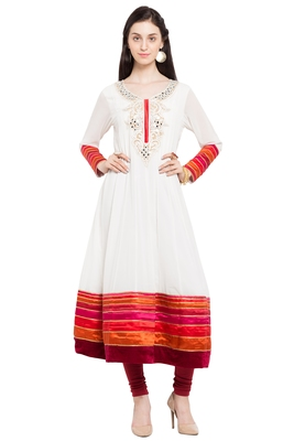 White Embroidered Georgette Stitched Long Kurtis