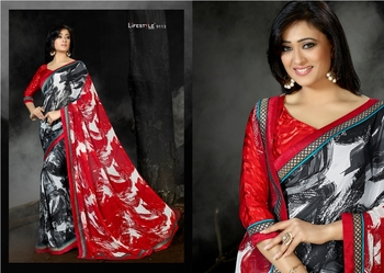 Grey Embroidered Georgette Saree with Blouse