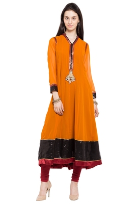 Mustard Embroidered Georgette Stitched Long Kurtis