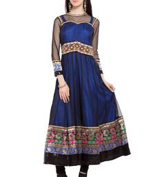 Blue plain georgette stitched long-kurtis