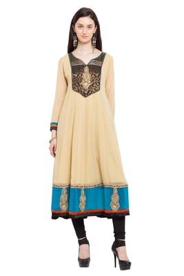Beige Embroidered Georgette Stitched Long Kurtis