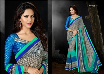 Grey Embroidred Georgette Saree with Blouse