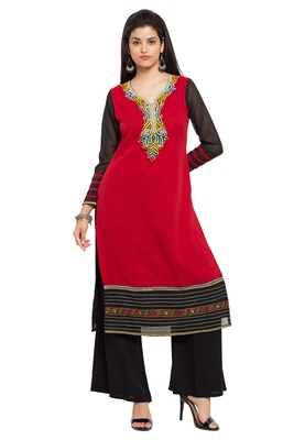 Red Embroidered Georgette Stitched Long Kurtis