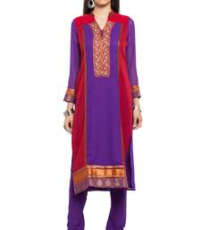 Purple embroidered georgette stitched long-kurtis