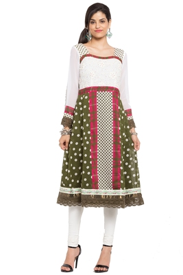 White printed georgette stitched long-kurtis