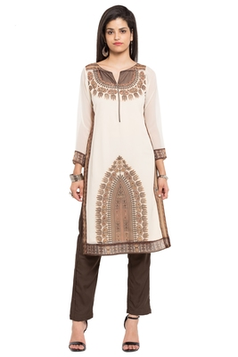 White embroidered georgette stitched long-kurtis
