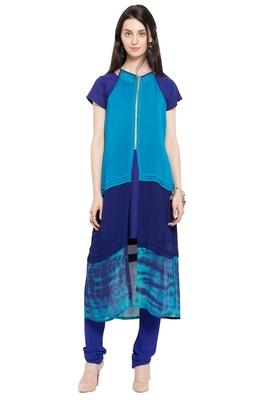 Blue plain georgette stitched long-kurtis